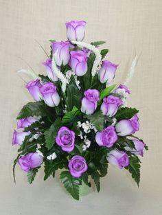 No. R103 Lavender Rose Cemetery Flower, Spring Cone Flower, Cone Arrangement, Grave, Tombstone arrangement. by AFlowerAndMore on Etsy
