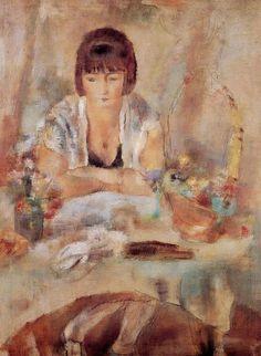 Portrait of Lucy at the #Table (1928). JulesPascin (Bulgarian,Ecole de Paris,1885-1930).Oil on canvas.