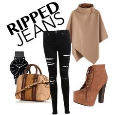 Ripped jeans look for fall by mariamakbbh on Polyvore featuring polyvore, fashion, style, Miss Selfridge, Breckelle's and The Horse