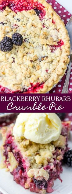 A delicious, tart and sweet pie this Blackberry Rhubarb Crumble Pie is the perfect mixture of flavors that just burst and excite your tastebuds. Rhubarb Crumble, Pie Crumble, Blackberry Crumble, Blueberry Rhubarb Pie, Rhubarb Pudding Cake, Rhubarb Rhubarb, Tart Recipes, Baking Recipes, Sweet Recipes