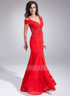 A-Line/Princess V-neck Floor-Length Chiffon Evening Dress With Ruffle Beading Appliques Lace (017020677)