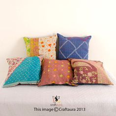 Set Of 5 Pillow Cover, Vintage Kantha Decorative throw Pillow, Kantha Pillow, Kantha Cushion, Gypsy pillow, Bohemian Pillow, Indian Pillow on Etsy, $29.99