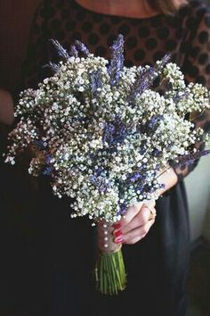 Gorgeous Bridal Bouquet Of White Gypsophila & Lavender···················