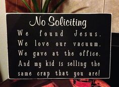 No Soliciting Front Door Wood SignWe Found by UnchainedBracelets