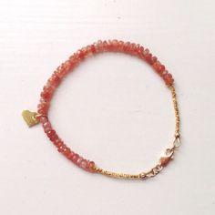 Sunstone Bracelet - Gold - Gemstone Jewelry - Beaded - Stackable - Layer - Everyday - Minimal on Etsy, $60.00