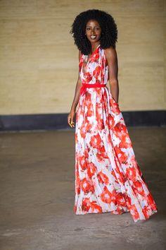 Pleated Rose Print Maxi Dress