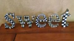 """4"""" Whimsical check Courtly Black sweet metal letters word, adult or childs decor"""