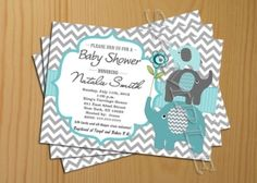elephant chevron baby invitation design