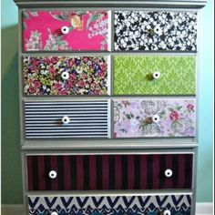 Do this to the changing table drawers with the gray chevron fabric I'm making the crib sheets in?