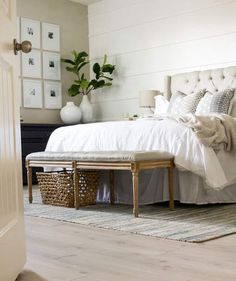 Bench and wicker basket At the End of the Bed
