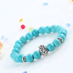 Lava Matte Turquoise Beads Silver Lion With Crown Charm Natural Stones Bracelets For Men