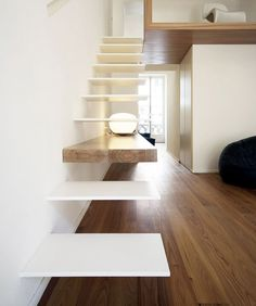 thin floating stairs