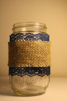 3 Navy Lace and Burlap Covered Mason Jars by ThisLovelyDay on Etsy, $22.00