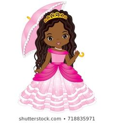 Vector beautiful African American princess in pink dress holding umbrella. Vector cute little African American girl. Ful Image, Paper Dolls, Art Dolls, Baby Girl Clipart, Ballerina Birthday Parties, Strawberry Shortcake Doll, Afro Girl, African American Girl, Cute Anime Character