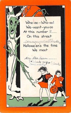 c.1920? Boy & Girl w/ JOL Candy Baskets & Goblin Halloween post card Invitation #Halloween