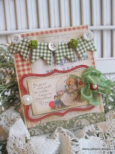 shabby chic banner child be good and you will be made happy on christmas day stitched handmade card