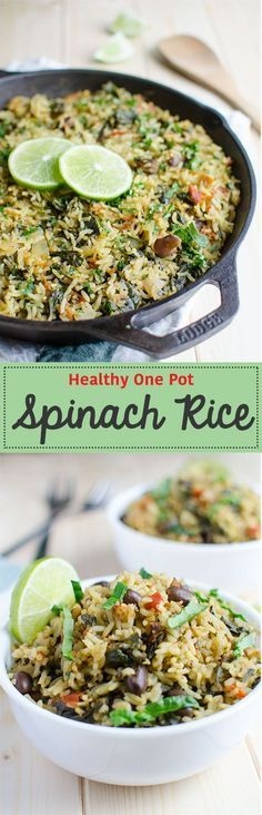 Healthy spinach rice loaded with proteins, fibers and vitamins. It is a one pot … Healthy spinach rice loaded with proteins, fibers and vitamins. It is a one pot meal that takes about 30 min to prepare. Ideal for busy times. Spinach Rice, Baby Spinach, Frozen Spinach, Whole Food Recipes, Cooking Recipes, Skillet Recipes, One Pot Meals, Side Dish Recipes, Food Dishes