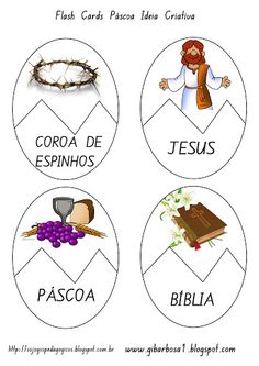 Só Jogos Pedagógicos: Flash Cards Páscoa Cristã Easter Art, Easter Activities, Bible For Kids, Bible Crafts, Sunday School, Art History, Place Card Holders, Teaching, Creative
