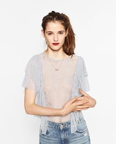 Image 2 of FRILLED BLONDE LACE TOP from Zara