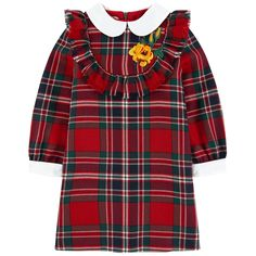 Shop for Tartan dress by Gucci at ShopStyle. Baby Frocks Designs, Kids Patterns, Print Patterns, Gucci Kids, Gucci Dress, Tartan Dress, Frock Design, School Dresses, Embroidery Dress
