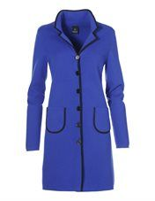 mooie soepel vallende winterjas van wol in kleur blauw met groene bis bijpassend bij blazer