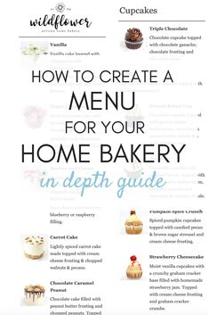 In depth guide on how to create the best menu for your home bakery! What to sell, what to charge, how many options to offer & more! Menu For Your Home Bakery - Bakery Business Plan, Baking Business, Cake Business, Catering Business, Food Business Ideas, Business Planner, Business Branding, Business Tips, Bakery Menu
