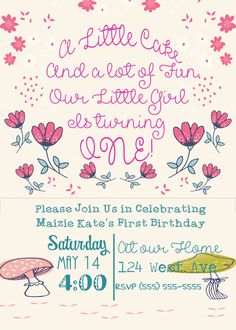 Girl's First Birthday Invitation by TeaTimePrints on Etsy