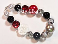 Delicate Roses Girls Womens Chunky Necklace, Red, Silver, Black, Flower, Bubblegum Bead Necklace, Chunky Necklace, Little Girls, Baby Girls