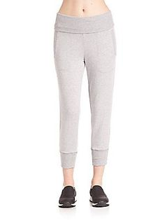 Beyond Yoga Foldover Ribbed Sweatpants - Heather Grey
