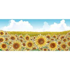 背景素材 青空とひまわり畑の背景イラスト(無料)フリー素材