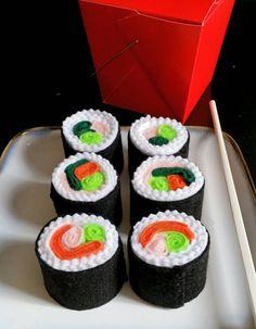 Felt play food sushi rolls by dekapo on Etsy https://www.etsy.com/listing/223990376/felt-play-food-sushi-rolls