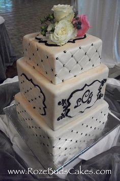 Quilted Wedding Cake with Monogram Plaque