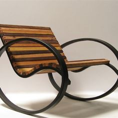 Pant Rocker, a modern take on the traditional rocking chair by Shiner International Metal Projects, Welding Projects, Welding Ideas, Diy Welding, Art Furniture, Furniture Design, Furniture Chairs, Upcycled Furniture, Outdoor Furniture
