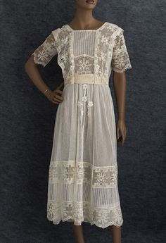 Filet Lace & Tulle Tea Dress, c. 1918. (View 1)