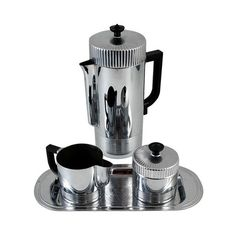 Splendid Art Deco Continental Chrome Coffee Set by Walter Von Nessen for Chase. Black Bakelite Handles. Set includes complete coffee pot with lid, sugar with l…