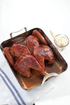 Butterflied Turkey with cranberry molasses glaze