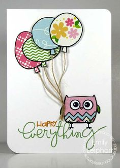Paper Pieced Owl & Balloons card by Emily Leipart at Paper Smooches Blog!  I just LOVE this card!