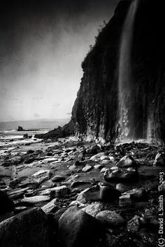 Waterfall at Saltwick bay, North Yorkshire