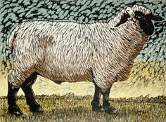 Sheep - woodcut print - Barry Wilson