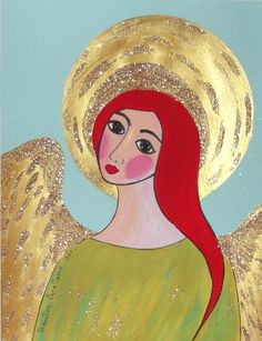 GUARDIAN ANGEL   MEXICAn FOLk ARt Painting