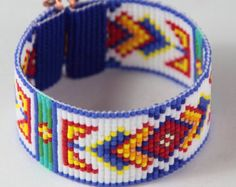 Tribal Diamonds Bead Loom Bracelet Bohemian Boho by PuebloAndCo