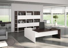 Escritorio de oficina ejecutivo con estantes T45   Escritorio de oficina con estantes by Quadrifoglio
