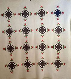 Antique Rose Bud Circle Motif Applique Quilt Red Green Blue late 19c early 20c, eBay, cottonlinenwool