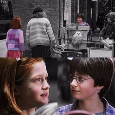 It was the first time they met.who knew what lay ahead Harry Potter Ginny Weasley, Harry Potter Potions, Harry And Ginny, Mundo Harry Potter, Harry Potter Characters, Scarlett Byrne, Matthew Lewis, Maggie Smith, Bonnie Wright