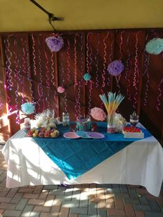 """Spa day candy table, I never had time but a really cool idea is to make a """"Treatments""""banner for the bottom of your candy table Candy Table, Spa Party, 8th Birthday, Banner, Cool Stuff, How To Make, Banner Stands, Candy Stations, 8th Anniversary"""