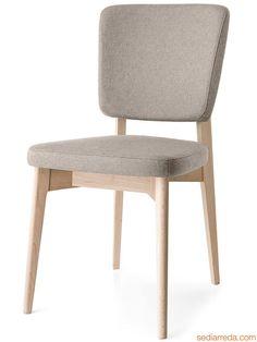 526 | Chaise en hêtre blanchi, assise rembourrée avec revêtement en tissu couleur corde