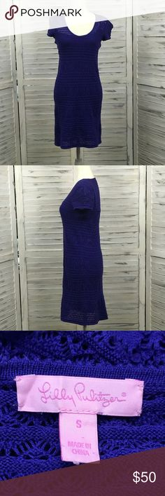 """Lilly Pulitzer Paulette crocheted dress blue Sz S Lilly Pulitzer PAULETTE CROCHET SWEATER SHIFT DRESS.  Very RARE, hard to find. Sold out in Stores and Online. This dress strikes the right balance between casual and dressy.  Features: short sleeve machine crochet removable slip with adjustable straps 100% cotton hand wash  Approximate measurements: bust: 31"""" waist: 32"""" hips: 36"""" length: 34""""  Good pre-owned condition, minor wear to fabric. One of the snaps that holds the slip to the dress on…"""