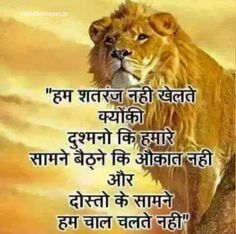 Hum sher the sher h aor sher hi rahege Quotes In Hindi Attitude, Attitude Quotes For Boys, Good Thoughts Quotes, Hindi Quotes On Life, Life Lesson Quotes, Tiger Quotes, Lion King Quotes, Positive Quotes For Life Motivation, Meaningful Quotes About Life