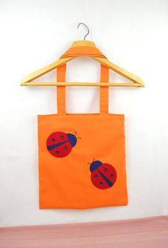 Orange Twill Fabric Bag with Ladybirds, Canvas Tote, Functional Bag, Workout Shoulder Bag, Beach Bag, Book Bag, Shopping Bag, Summer Bag #bagsandpurses #orange #fabricbag #canvastote #functionalbag #workoutbag #shoulderbag #beachbag #bookbag
