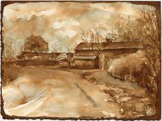 Sepia ink drawing of a road